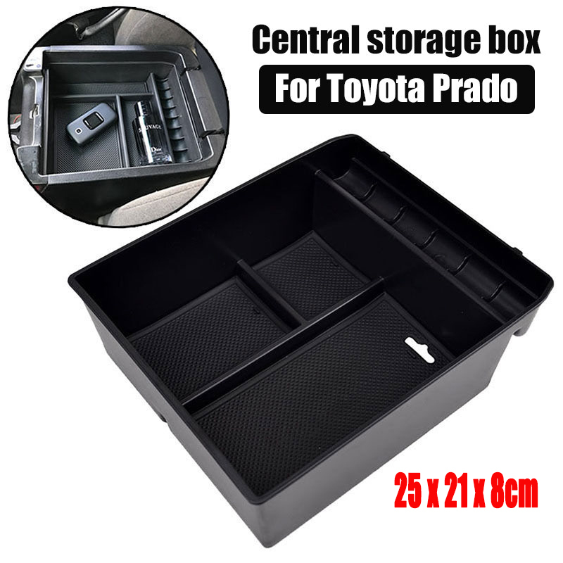 1Pcs ABS Central Armrest Container Stowing Box For <font><b>Toyota</b></font> Land Cruiser Prado (<font><b>FJ120</b></font>) 2004-2009 Black Car Accessories 25*21*8cm image