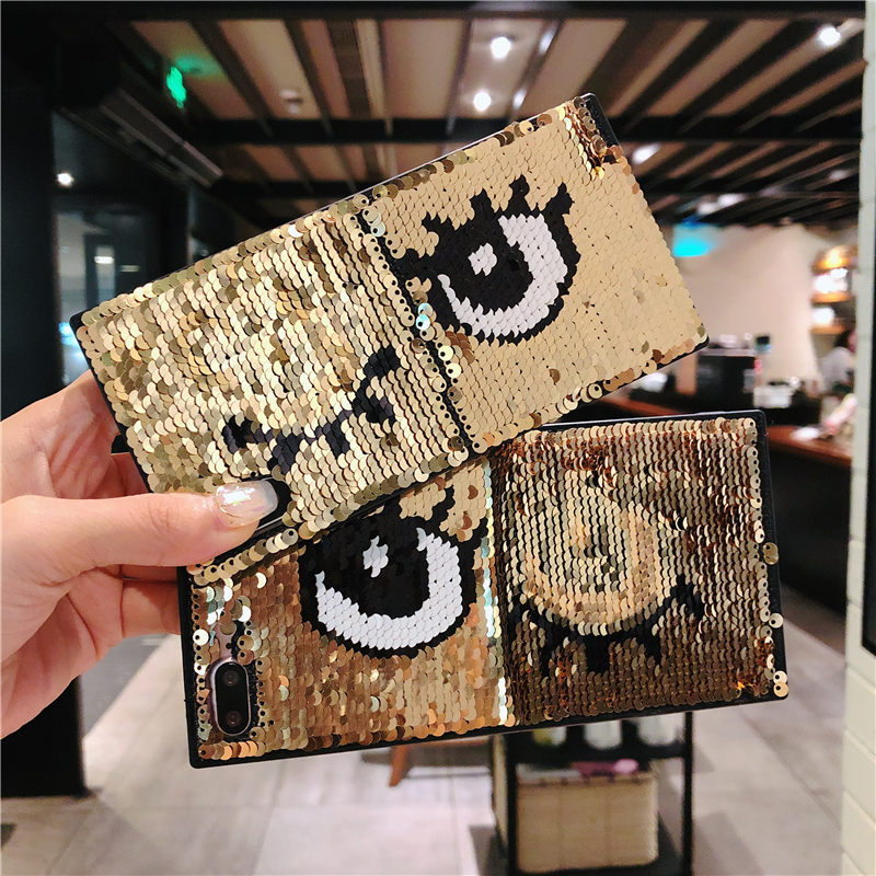 Galleria fotografica Luxury Blinking Sequins Eyes Phone Case For iPhone X 7 8 6s Plus Magic Changing Pattern Color Toys Case For iPhone X 10 7 8 Plus