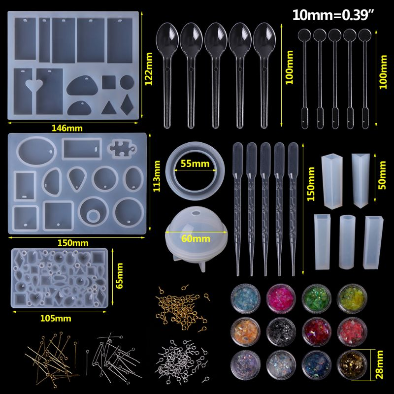 1 Set Epoxy Resin Kit Jewelry Casting Tools DIY Handmade Crafts Necklace Bangle Making Findings Silicone Mold Spoon Dropper Acce