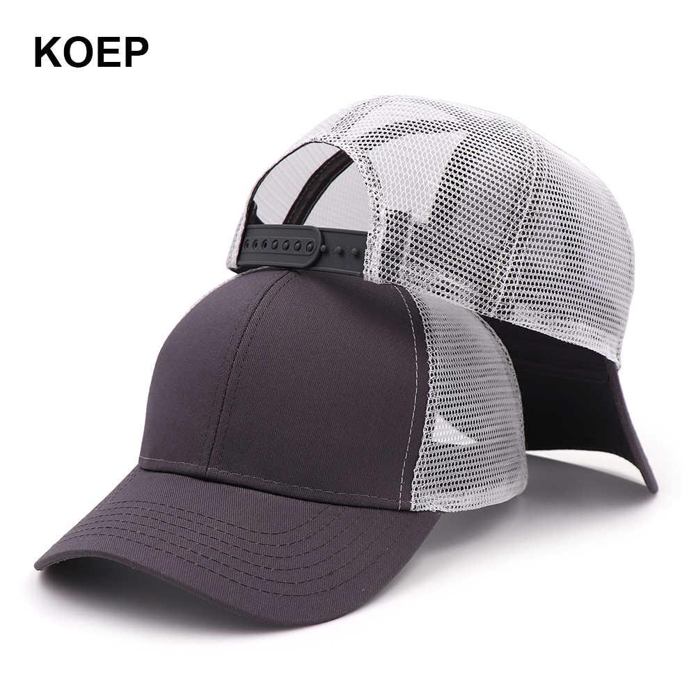 KOEP نوع جديد عادية الصلبة القطن شاحنة قبعة للنساء الرجال أسود أبيض الصيف قبعة بيسبول كول شبكة Snapback قبعات للآباء السفينة حرة