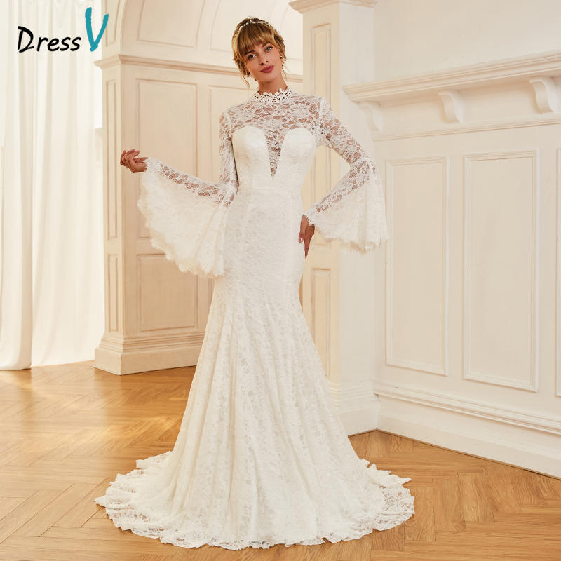 Us 149 34 46 Off Dressv Ivoor Trouwjurk Hoge Hals Hof Trein Lange Mouwen Bridal Mermaid Elegante Outdoor Kerk Kant Trompet Trouwjurken In