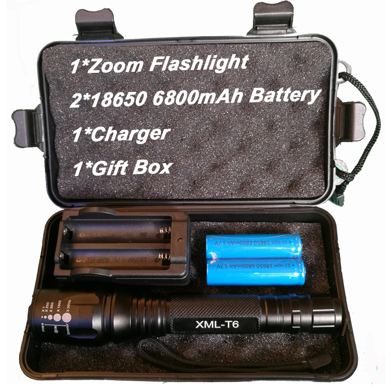 8000Lumens Flashlight CREE XM-L T6 LED Zoomable Focus Flash Light Torch Light Tactical Flashlight Camping Lamp Outdoor Lighting led flashlight torch e17 cree xm l t6 3800 lumens high power focus lamp zoomable light with one battery charger and sleeve