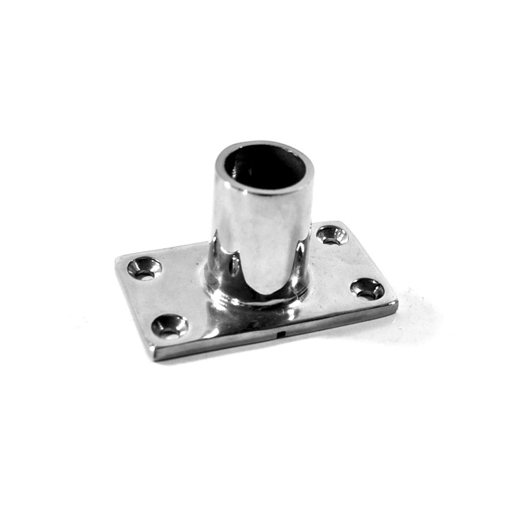 ISURE MARINE 316 Stainless Steel 90 Degree Marine Boat Hand Rail Fitting Rectangular Stanchion Base For Pipe 7/8