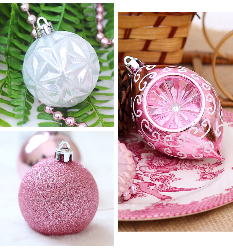 06 inhoo Pink Christmas Tree Ornaments Christmas Balls Decoration Baubles Plastic Hanging Ball Craft Supplies Xmas Gifts 2019 NEW