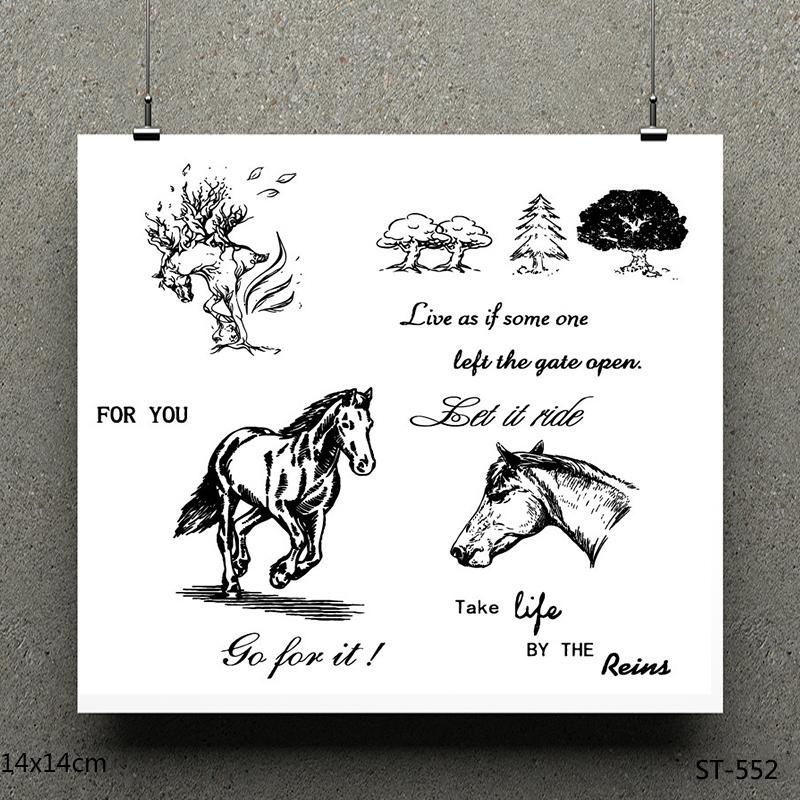 AZSG Horse Clear Stamps Seals For DIY Scrapbooking Card Making Album Decorative Silicone Stamp Crafts in Stamps from Home Garden