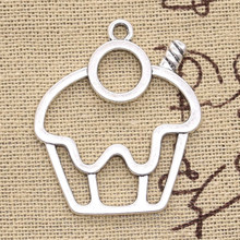 10pcs Charms cake cupcake 36x31mm Antique Silver Plated Pendants Making DIY Handmade Tibetan Silver Jewelry(China)