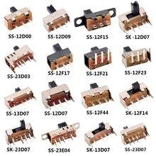 1/5/10/20pcs SS 12D00 Slide switch slide gear fluctuation band 2/3 file single double horizontal mini horizontal power supply