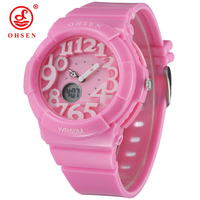 50M Waterproof Kid Watches Children Boys Student Jelly Silicone Watch Quartz Analog Girl Cute Pink Dual