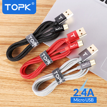 TOPK Micro USB Cable Nylon Braided Wire Metal Plug Data Sync Charging Data Microusb Charging Cable for Samsung Xiaomi Huawei HTC