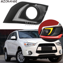 Daytime Running Light For Mitsubishi ASX RVR 2016 2017 2018 DRL Fog Lamp Cover Driving Daylight With Yellow Turn Signal Light sunkia car led drl daytime running light with fog lamp hole for mitsubishi asx 2013 2015 white light amber turn signal