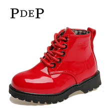 PDEP Chain Lace Autumn Kids PU Leather Martin Footwear Red Platform Spring Ankle Fashion Girl Boots Shoes