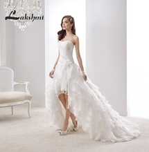 Elegant Strapless High Low Wedding Dress with Cascading Ruffles Organza China Plus Size Bridal Gowns trouwjurk