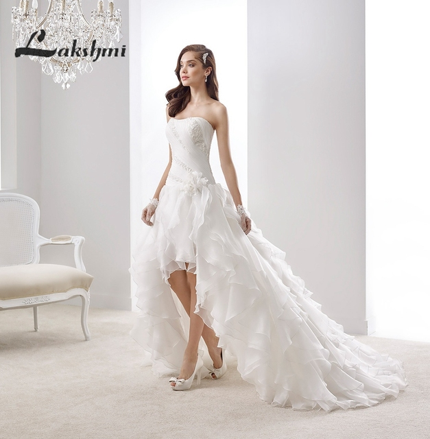 Elegant Strapless High Low Wedding Dress with Cascading Ruffles ...