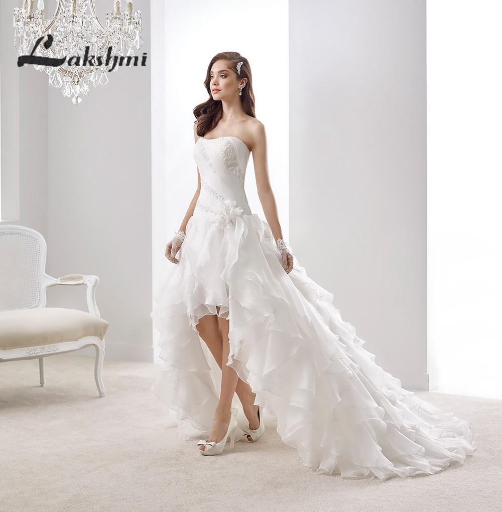 Elegant Strapless High Low font b Wedding b font font b Dress b font with Cascading