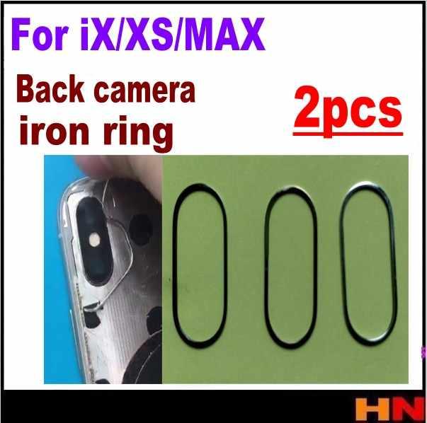 2 uds. Para iPhone XS X XS MAX cámara trasera de alta calidad anillo de hierro cubierta de bisel piezas de repuesto