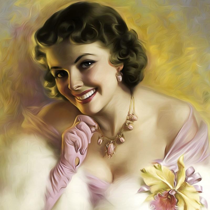 retrato retro look coqueto guantes sonrisa peinado belleza chica jzk saln home pared del arte moderno