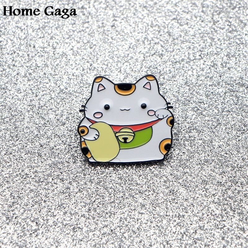 10pcs/lot Homegaga Fortune Cat Metal Zinc Tie Cartoon Funny Pins Backpack Clothes Brooches For Men Women Hat Badges Medal D1110 Badges Home & Garden