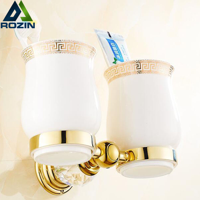 Golden and Jade Bathroom Cup & Tumbler Holder Wall Mounted Double Toothbrush Rack luxury golden brass three cup holder luxury style golden copper toothbrush double tumbler 3pcs cup holder wall bath cup rack