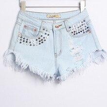 2015 сексуальная короткие джинсовые шорты горячих женщин металлические заклепки мода разорвал отверстие панк стиль высокая талия джинсовые шорты