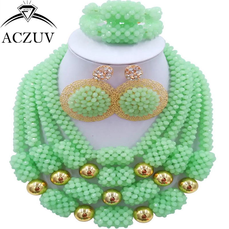 ACZUV Latest Wedding Accessories Bride Jewelry Set Mint Green Crystal African Beads Nigerian Necklace D4R020 mint green casual sleeveless hooded top
