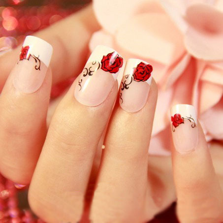 Red Rose Nail Art Manicure Tips False Nails Patch Fake Display