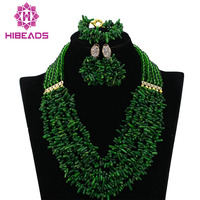 Latest Nigerian Coral Beads Necklace Set For Wedding Green African Costume Jewelry Set Bridal Gift Jewelry