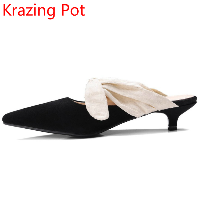 2017 Superstar Women Brand Summer Shoes Sweet Slip on Bowtie Pointed Toe Runway Slingback Sandals Low Heels Stiletto Pumps 08 spring summer women leather flat shoes 2017 sweet bowtie flats women shoes pointed toe slip on ladies shoes low heel shoes pink