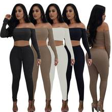 Jumpsuits For Women Autumn Off Shoulder Skinny Long Pants Women Party Club Two Piece Playsuit Sexy Rompers Jumpsuit WF679(China)