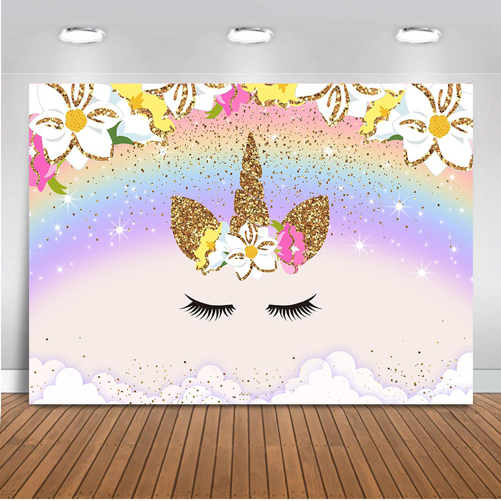 Newback Unicorn Backdrop For Photography Rainbow Newborn Baby Shower Photo Shoot Background Party Decoration Banner Props