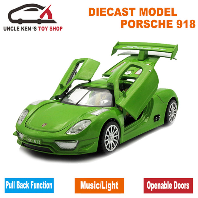 15cm 1:32 Diecast Model 918 911 SPYDER Replica, Kid Toys, Car With Pull Back Function/Music/Light/Openable Door As Gift For Kids