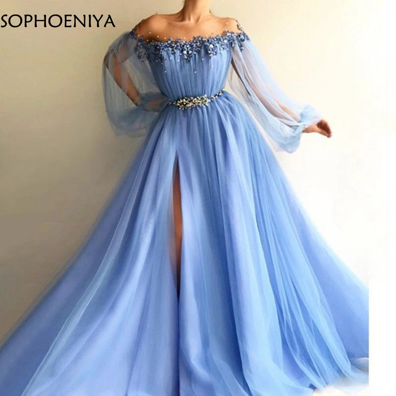 New Arrival Off the shoulder Long sleeve evening dress 2019 Colorful Beading Formal dress Party gown Abendkleider avondjurk