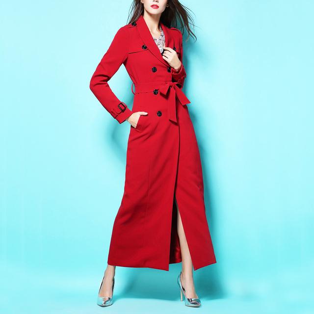 2017 New British Retro Fresco Rojo de Doble Botonadura Abrigo Largo Mujeres Otoño Y el Invierno Largo Maxi Trench Coat