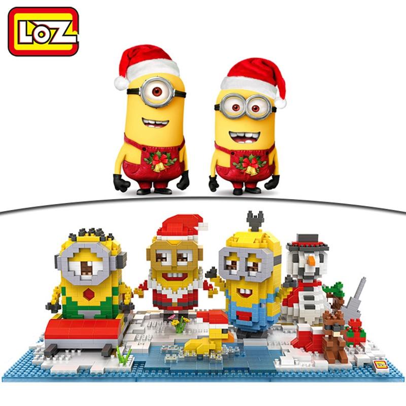 Loz Creator Minions Christmas Park Home Decorations Diy 3d Model Toy 24cm X 8cm Building Block Educational Gift Christmas Toy