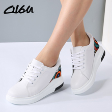 O16U Women Sneakers fashion white Platform Shoes Genuine Leather Lace up Ladies Vintage Stitching Cute Spring Casual Shoes