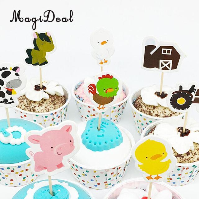 24 stks Boerderijdieren Kip Eend Huis Cake Cupcake Topper Kids ...