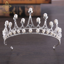 TREAZY Top Quality Pearl Crystal Bridal Crown Tiara Gorgeous Rhinestone Wedding Hair Accessories Jewelry for Quinceanera Pageant