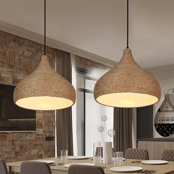 loft iron rope pendant light bar kitchen restaurant bedroom hanging lighting E27