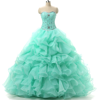 New Stock Organza Ruffled Beaded Sweetheart Neck Pink Quinceanera Dresses 2015 Prom Ball Gowns Dress15 Years