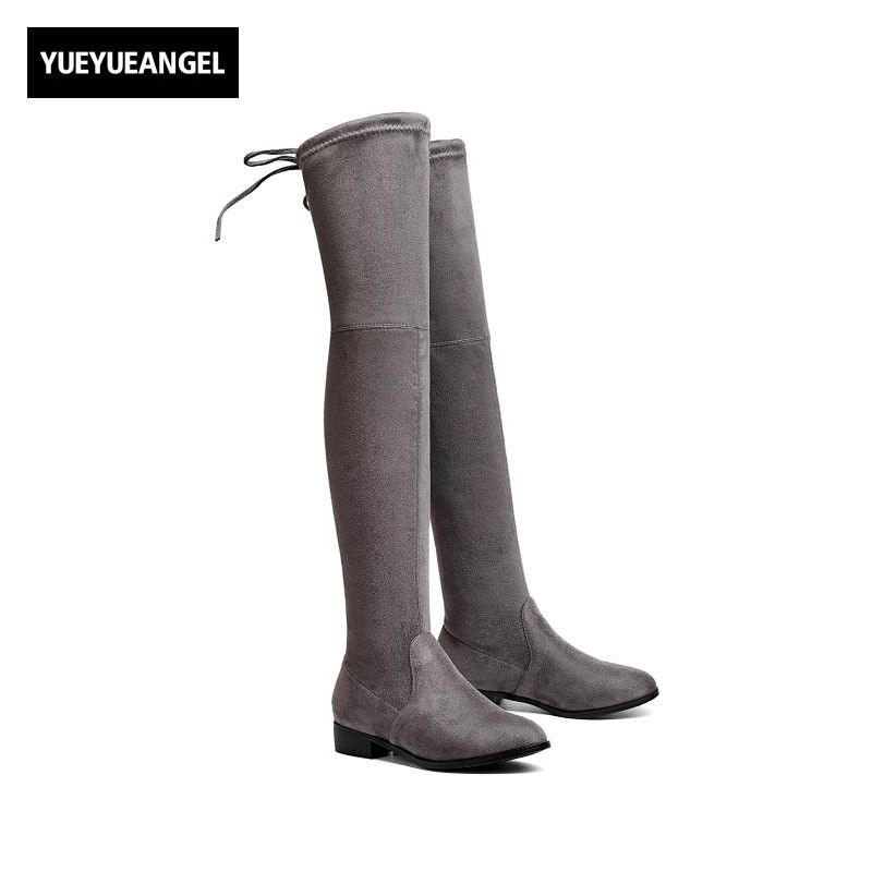 где купить 2018 Over Knee Boots Woman Pointed Toe Faux Suede Sexy Thigh High Boots Stretch Female Footwear Zapatos De Mujer Chaussure Femme по лучшей цене