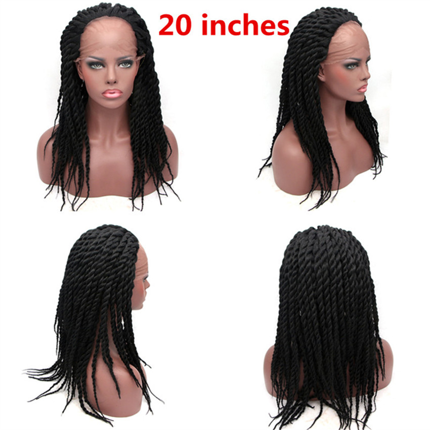 Image 4 - Feibin Synthetic Lace Front Wig Afro 2x Twist Braids Wigs For Black Women-in Synthetic None-Lace  Wigs from Hair Extensions & Wigs