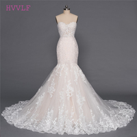 Champagne Vestido De Noiva 2018 Wedding Dresses Mermaid Sweetheart Appliques Lace Luxurious Wedding Gown Bridal Dresses