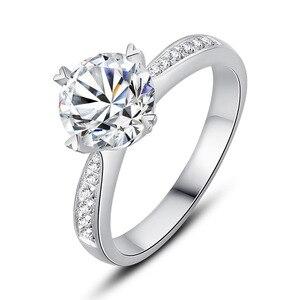 Image 2 - 925 sterling zilver 1ct 2ct 3ct Ronde Briljant Geslepen Ring Diamant Moissanite hartvormige ring Engagement sieraden Anniversary