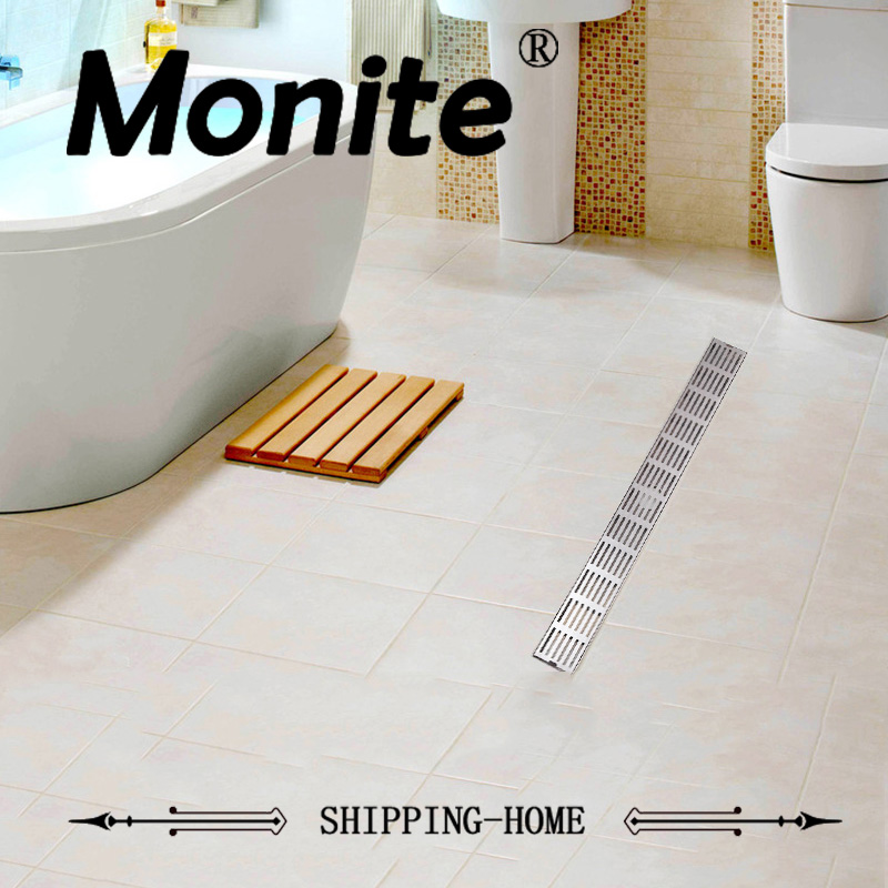 Luxury Bathroom Drains Rectangle Type 304 Stainless Steel Bathroom Linear Shower Floor Drain Srainer 600mm x 67mm