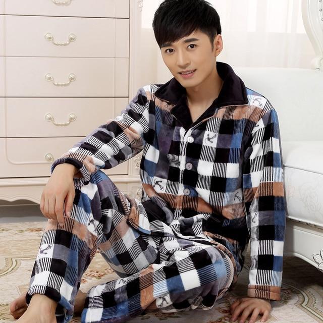 Winter flannel Cardigan pajamas Men Coral sleepwear Long sleeve Pajama Set Plus size 4XL