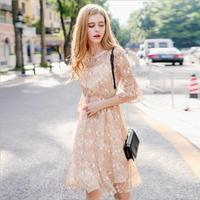 2018 autumn new fashion women's lace up printing Butterfly Sleeve fresh lady chiffon casual dream temperament dress