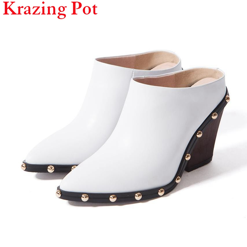 New arrval Brand Slingback Sweet Pointed Toe Women Pumps Thick High Heel Solid Rivets Causal Office Lady Work Model Shoes L41 2017 new fashion brand spring shoes large size crystal pointed toe kid suede thick heel women pumps party sweet office lady shoe