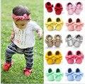 Pode Ser Personalizado de 2017 Marca de Sapatos de Bebê Recém-nascido Sapatos De Couro PU Sapatos Infantis Do Bebê Das Meninas Dos Meninos Mocassins 0-18 meses