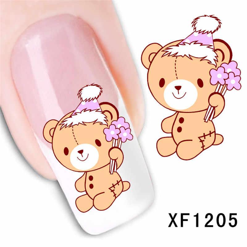Водонепроницаемый Переводные ногти искусство стикер мультфильм медведь дизайн девушка и женщины маникюрные инструменты Обертывания для ногтей XF1205