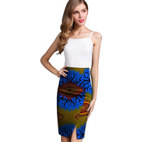 Fashion Front Kick Pleat Womens African Skirt Colorful African Print Element Dashiki Clothing Tailor Custom