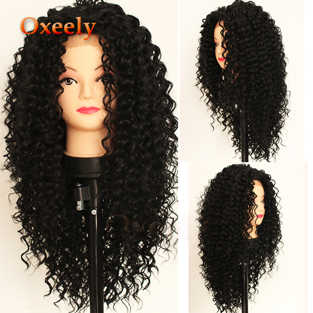 Oxeely Fashion Long Kinkys Curly Hair Lace Front Wig for Black Women Synthetic Lace Front Wigs Heat Resistant 180 Density
